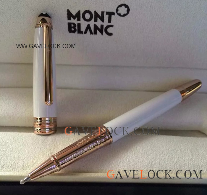 Montblanc Meisterstuck White Solitaire Classique Rollerball Pen Rose Gold Mont blanc Pen Replica