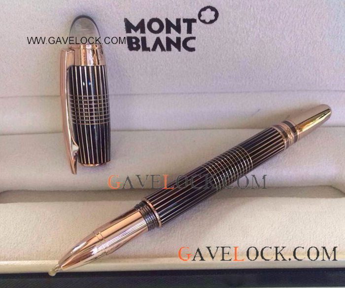 Starwalker Black And Rose Gold Stripped Rollerball Pen with Mont Blanc Rollerball Refill