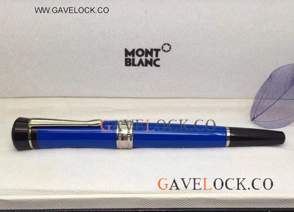 Newest Mont blanc Bonheur Replica Pen Blue Barrel Rollerball Pen From Gavelock