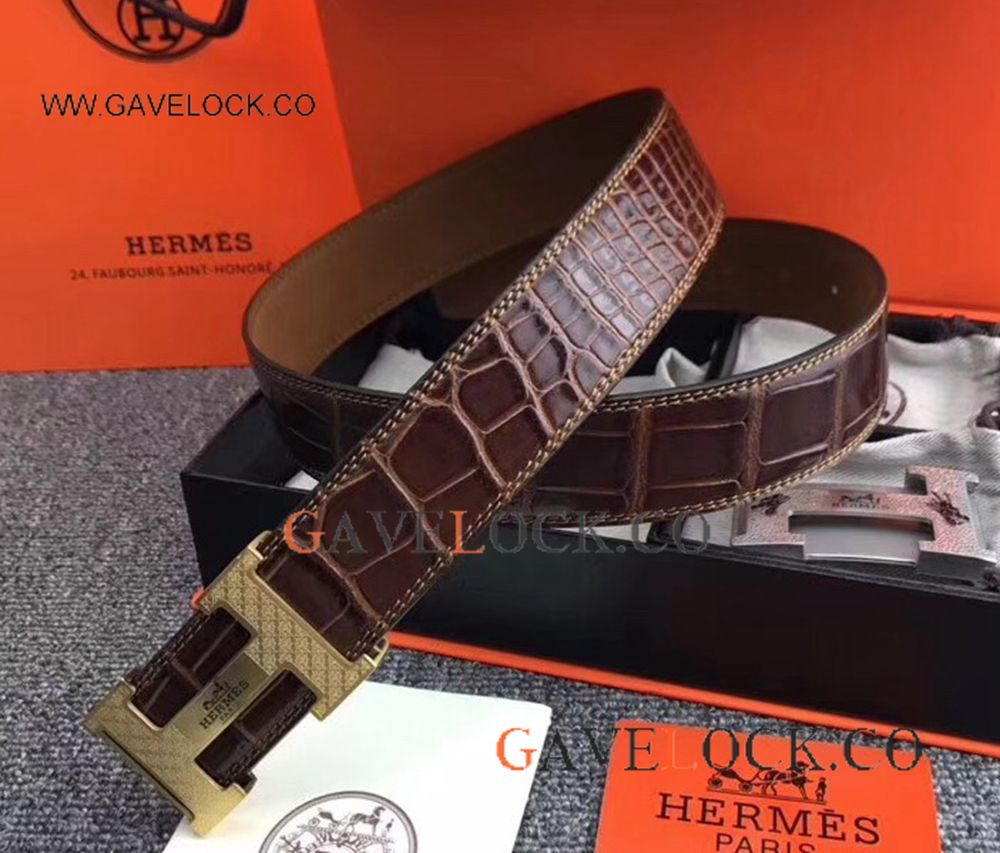Copy Hermes Alligator Belt With Gold Buckle - Business Men's Belt