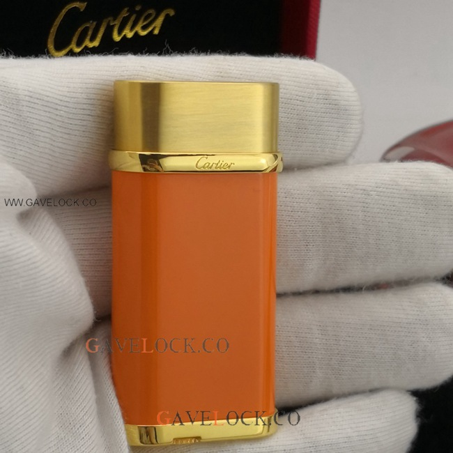2019 New Cartier Two-Tone Oval Lighter Gold & Orange