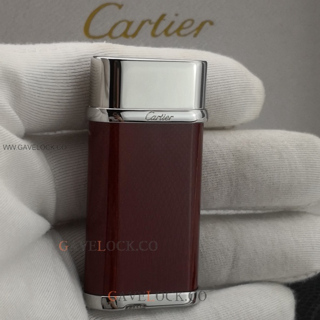 2019 New Cartier Two-Tone Oval Lighter Silver & Wine Red