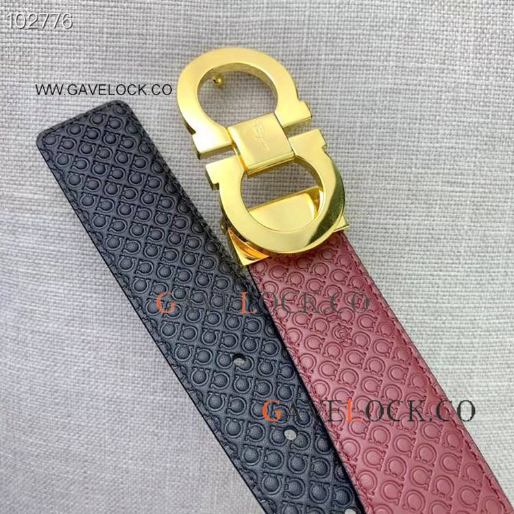 2019 New Copy Ferragamo Double sided Calf Belt Gold Buckle