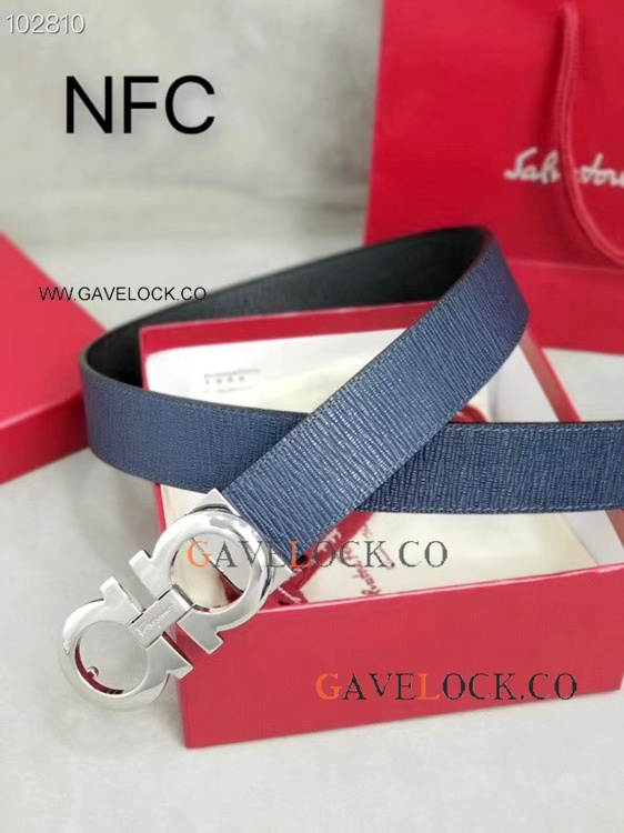 2019 New Style Ferragamo Blue Calf Leather Belt with Silver Buckle