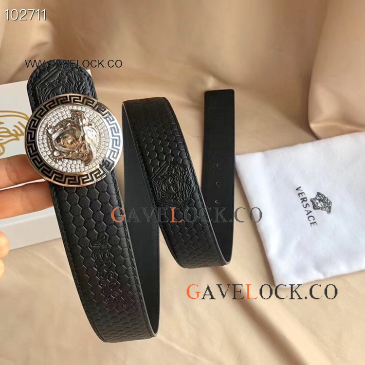 2019 New Replica Versace Calf Leather Belt Black and Silver