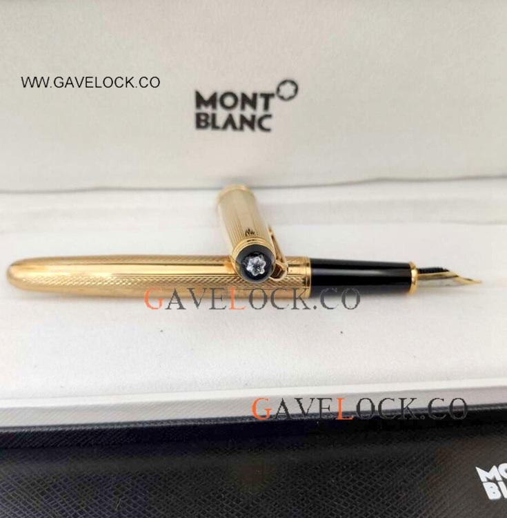 2021 New Mont Blanc Meisterstuck All Gold Fountain Pen w/ Diamond Replica