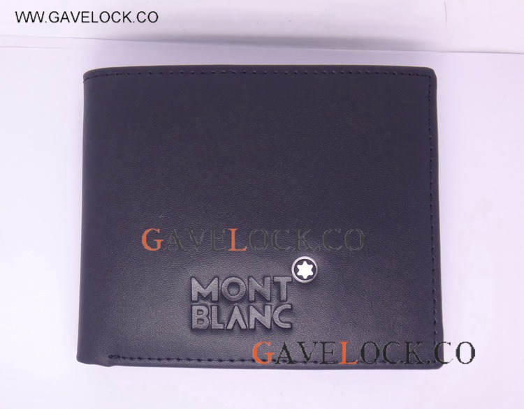 AAA Black Leather With White Star Mont blanc Emblem Replica Mont blanc Wallet