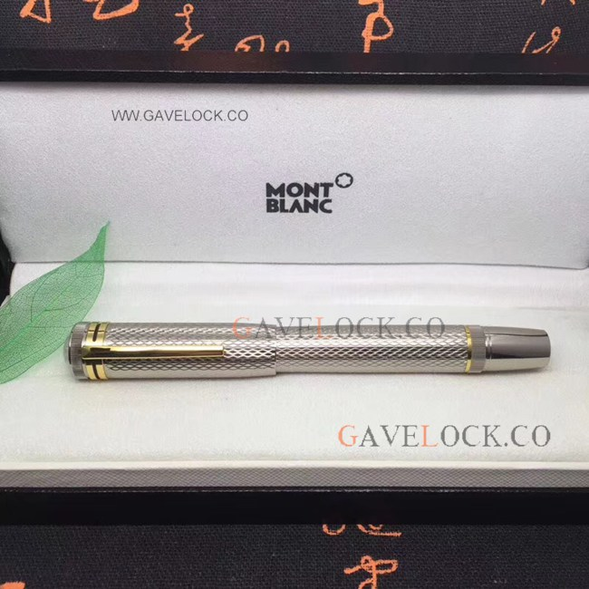 Montblanc Meisterstuck Silver Rollerball Pen Gold Clip