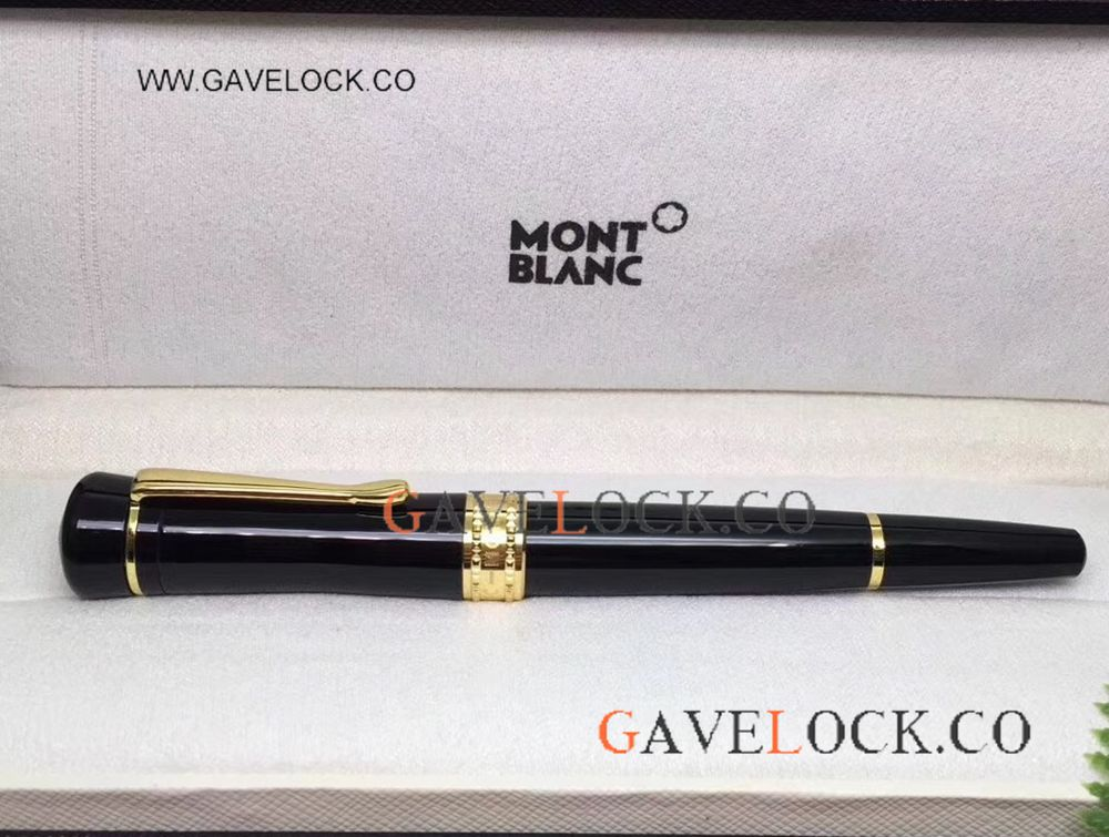 AAA Grade Montblanc Bonheur Rollerball Pen / New Style Black&Gold For Sale