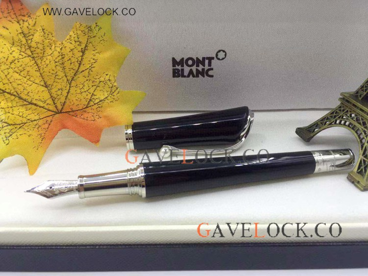 AAA Grade Montblanc Marilyn Monroe Black Resin Fountain / Mont Blanc Fake Pen