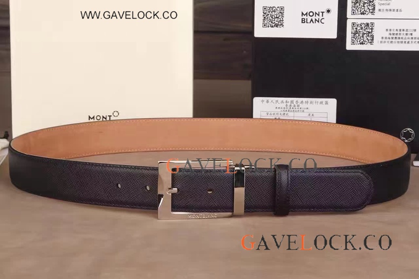 AAA Grrade Mont Blanc Belt Replica - Smooth Silver Buckle