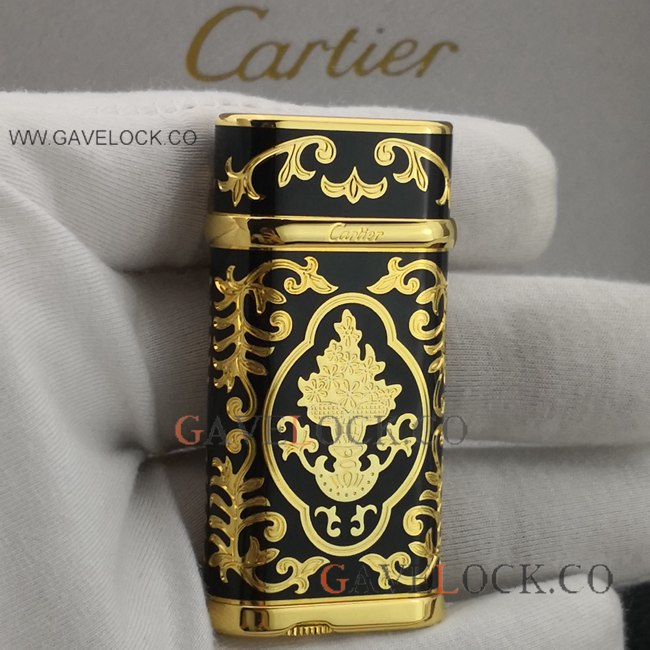 AAA Replica Black Cartier Lighter Vintage Gold Pattern