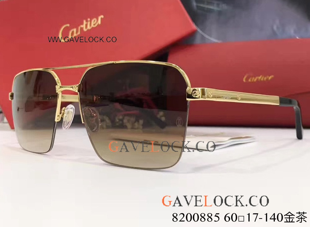 AAA Replica Cartier Gold & Brown Double-bar Sunglasses Mens/ New Arrival
