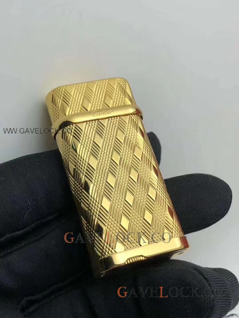 AAA Replica Cartier Lighter Gold-Plated Rhombic Pattern