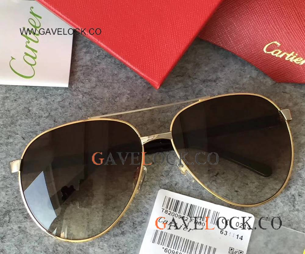 AAA Replica Cartier Sunglasses Vintage Gold Frame D-Black Lens Sunglasses