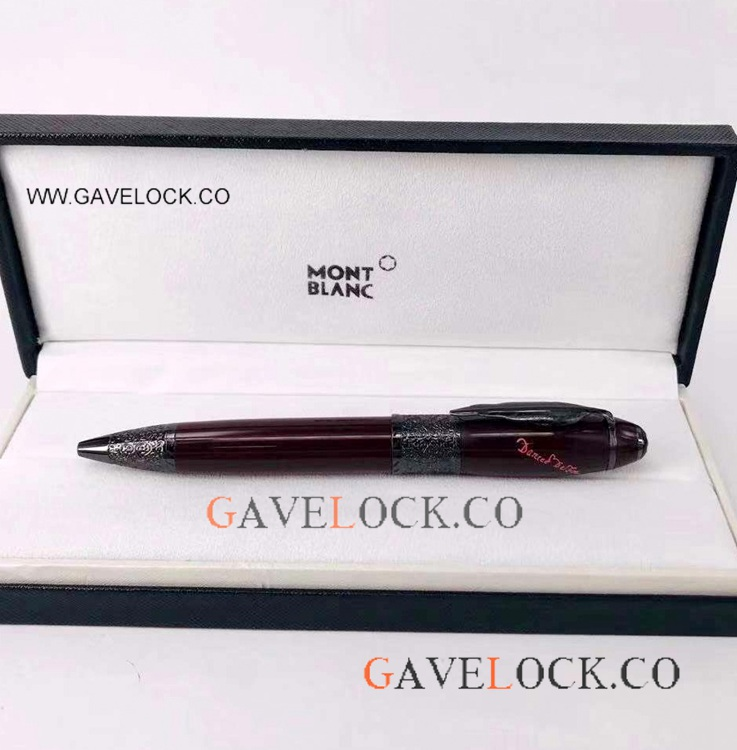 AAA Replica MontBlanc Daniel Defoe Ballpoint Pen For Sale Dark Red