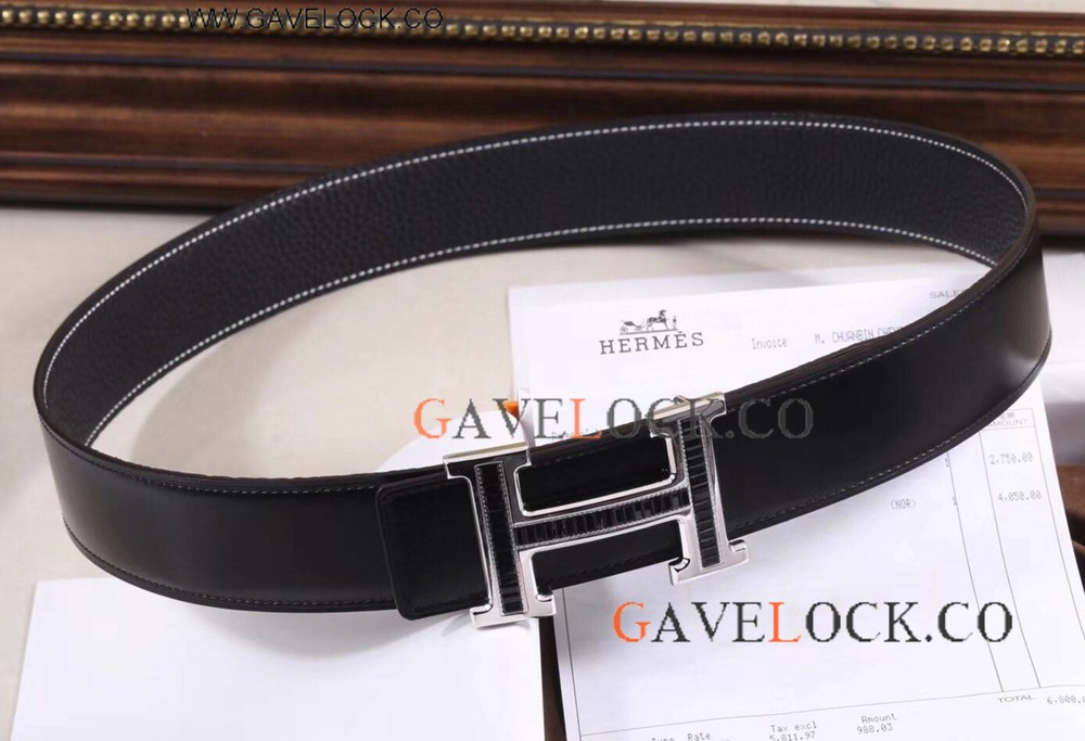AAA+ Replica Hermes Double Sided Belt With Black Diamond H Buckle