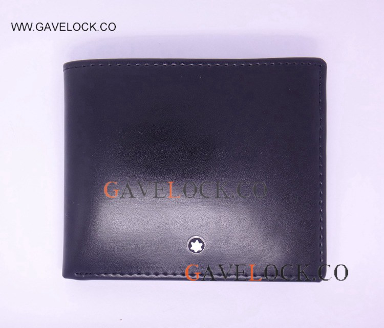 All Black Leather Wallets Logo Short Mont blanc Replica Wallet