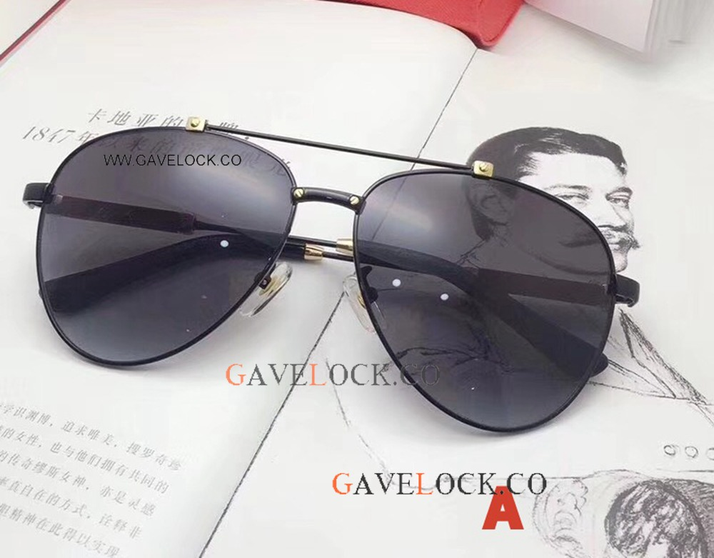 Best Copy Cartier double-bar Gold & Black Glasses New Style