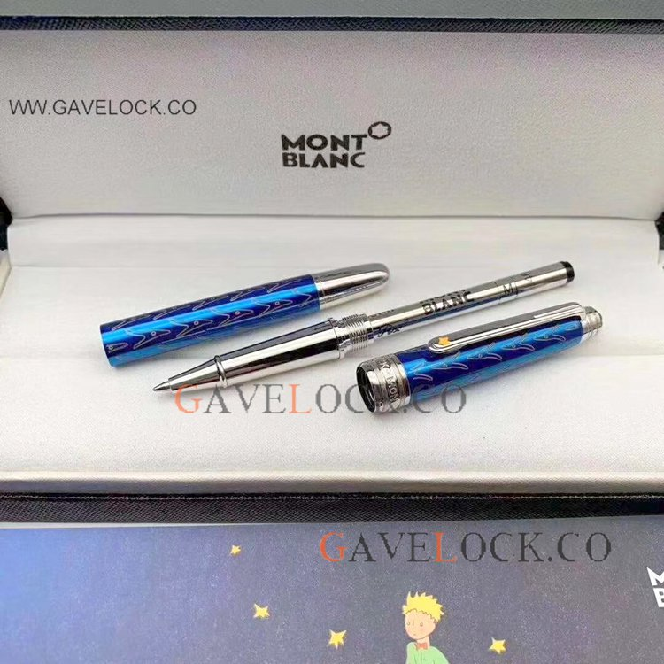 Best Mont Blanc Pen Little Prince Rollerball Pen - Bright Blue Barrel