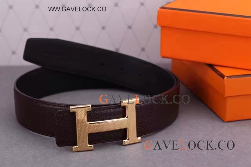 Best Hermes H Belt Buckle Replica For Mens-Hermes Belt Replica Strap Brown Leather Gold H Buckle
