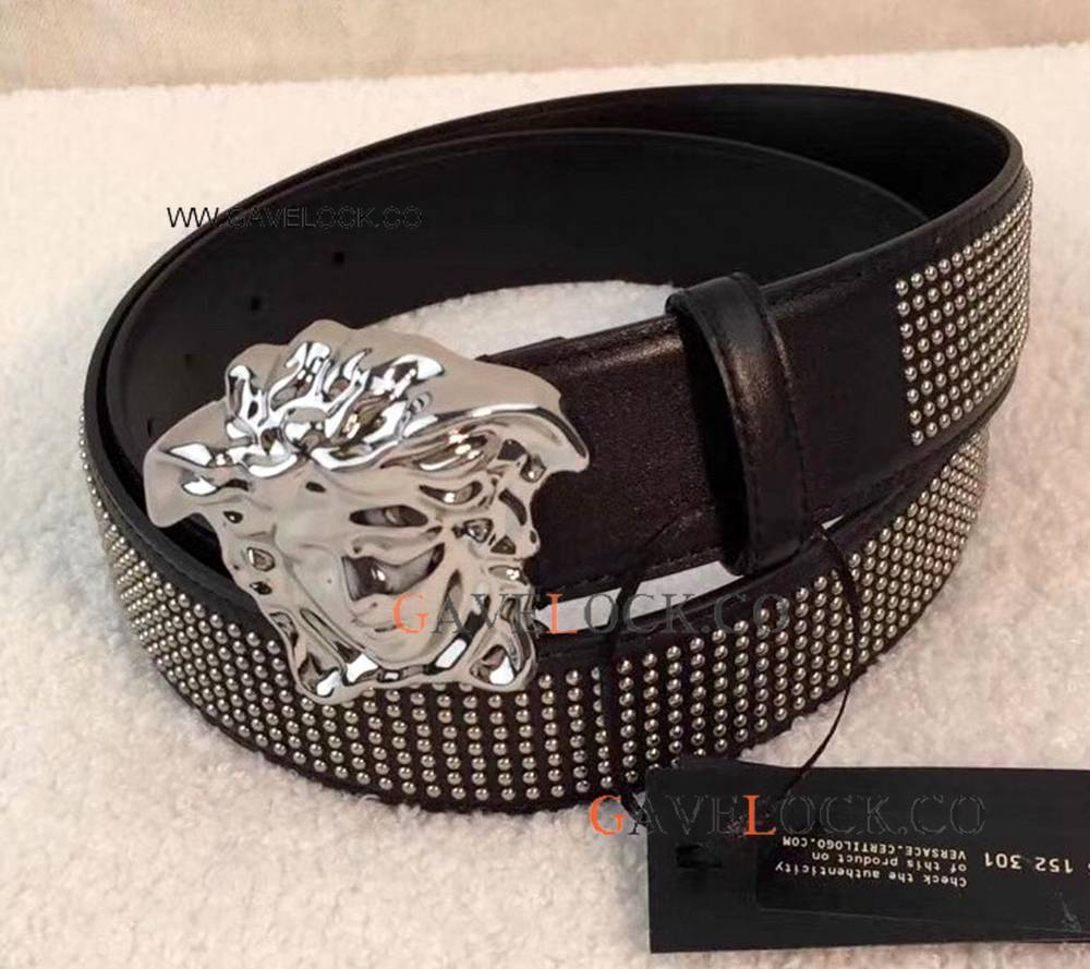 Best Replica Versace Belt With Silver Buckle Studded Belt / Newest Style