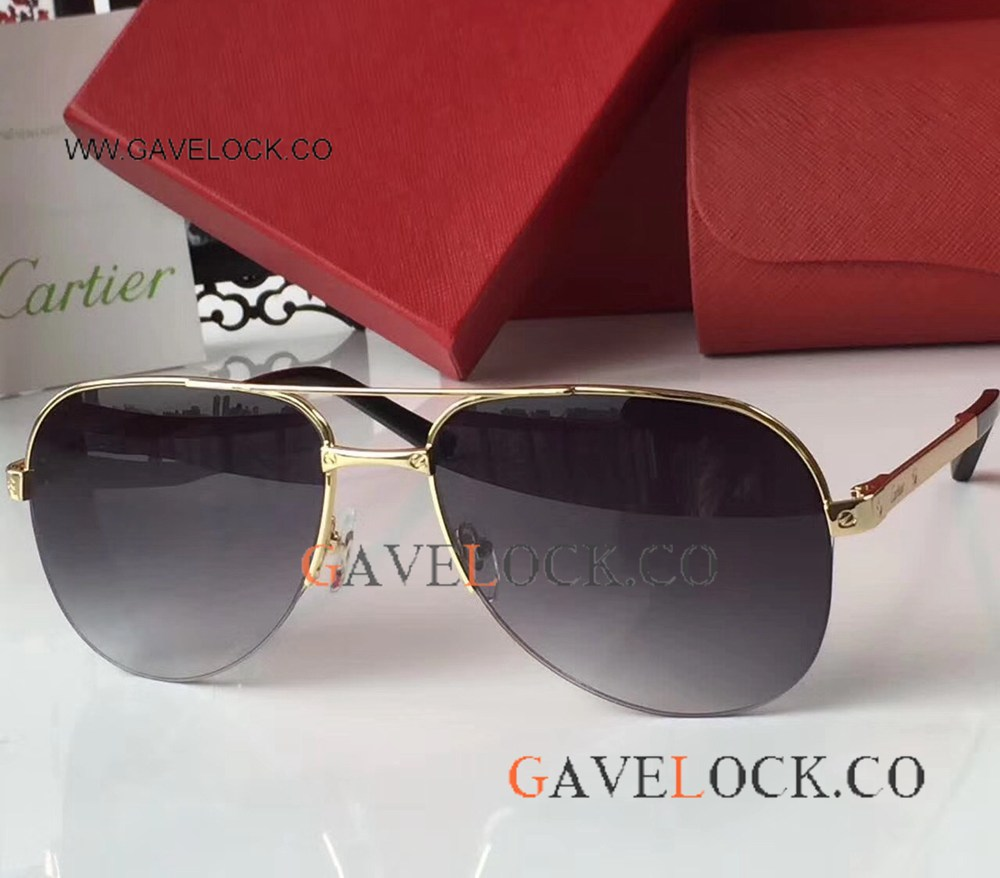 Buy Wholesale Replica Cartier Gold Frame Sunglasses Newest Style