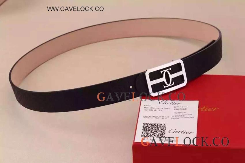 fcca4539cd5 Cartier Men Belt Replica Black Leather And Double C Clasp