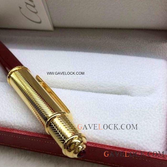 Diabolo De Cartier Pen Replica Ballpoint Pen Red Amp Gold