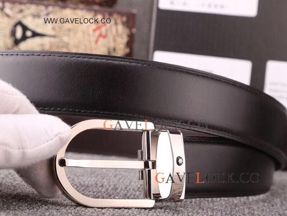 Classic Style Mont Blanc Smooth Belt With Horseshoe Buckle New Replica