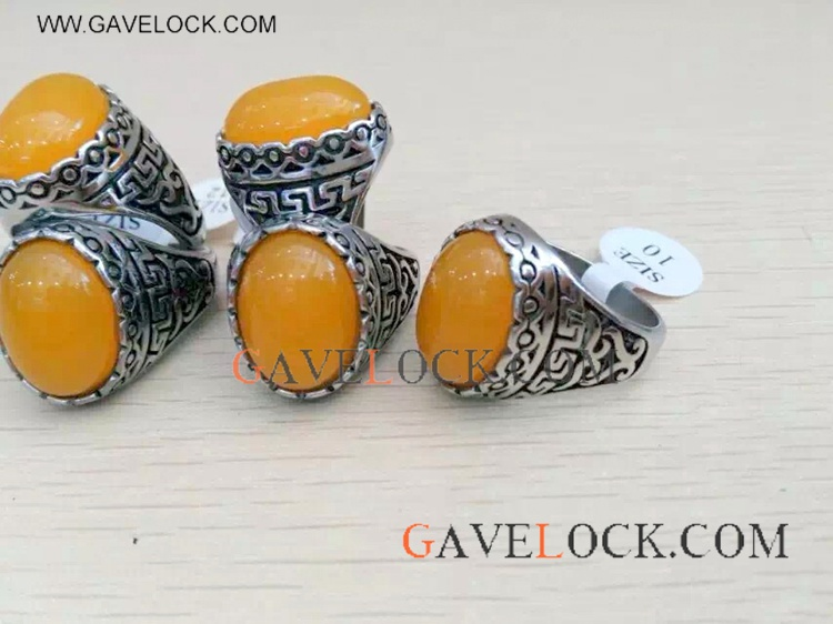 Cool Retro Style Orange Stainless Steel Ring