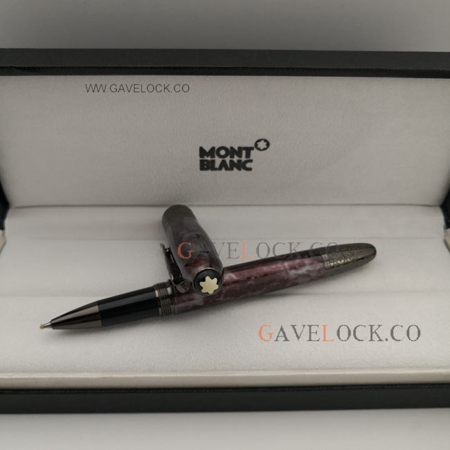 Copy Daniel Defoe Montblanc Rollerball Pen Black and Dark Red