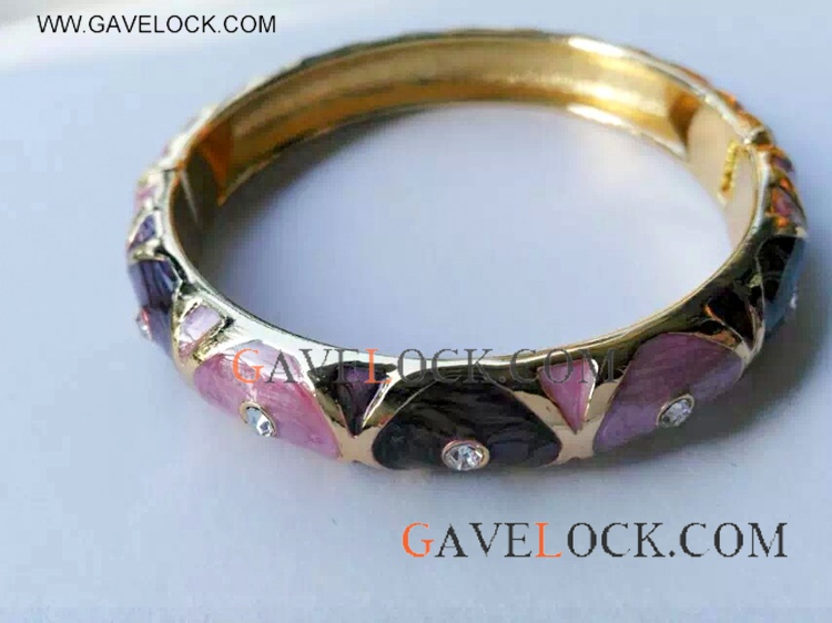 Diamond With Colorful Heart Punk Bangle
