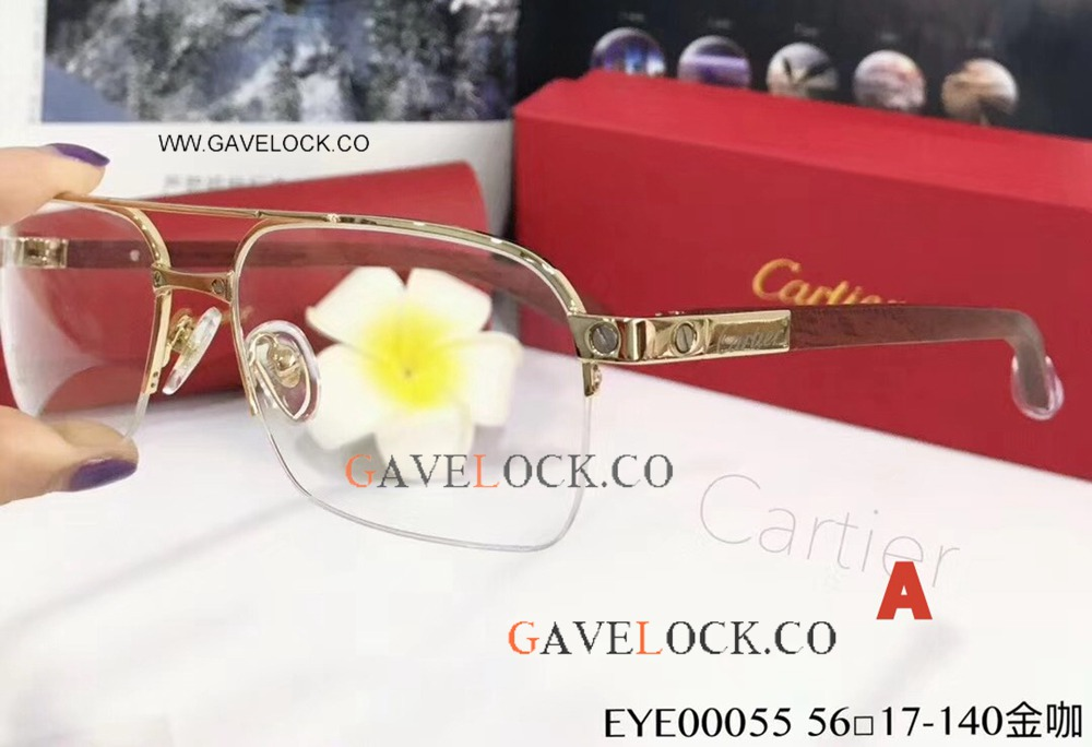 Fake Cartier Gold Red Wood Eyeglasses / Double-bar Eyeglasses