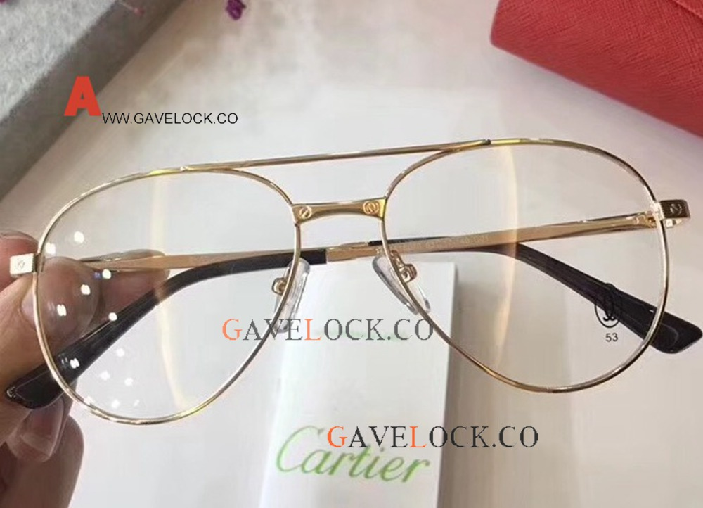 Fashion Replica Cartier Glasses Gold Frame Unisex Size