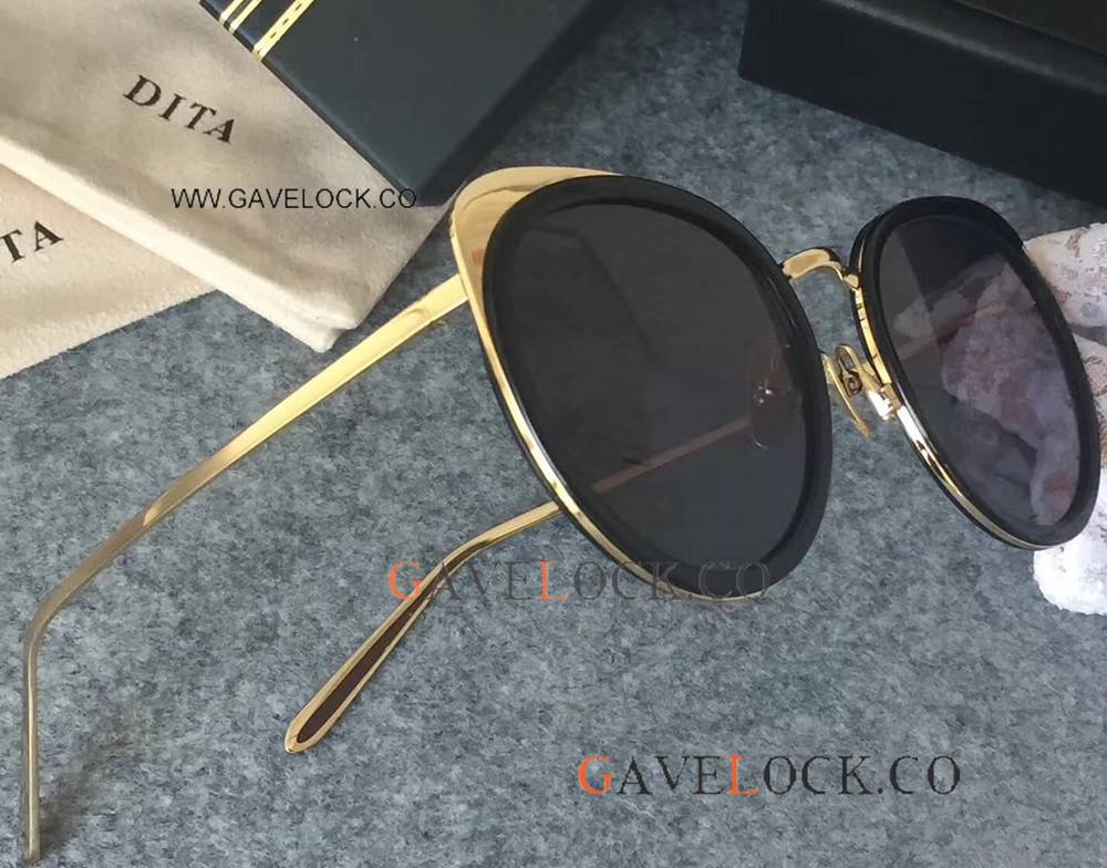 Fashionable DITA Sunglasses / Black And Gold High Quality For Sale