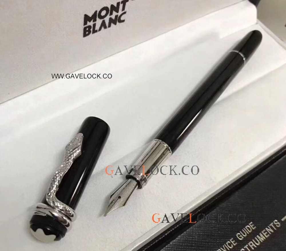 Free Shipping Mont Blanc Rouge Et Noir Fountain Pen / Black Resin Montblanc Heritage Collection Fountain Pen