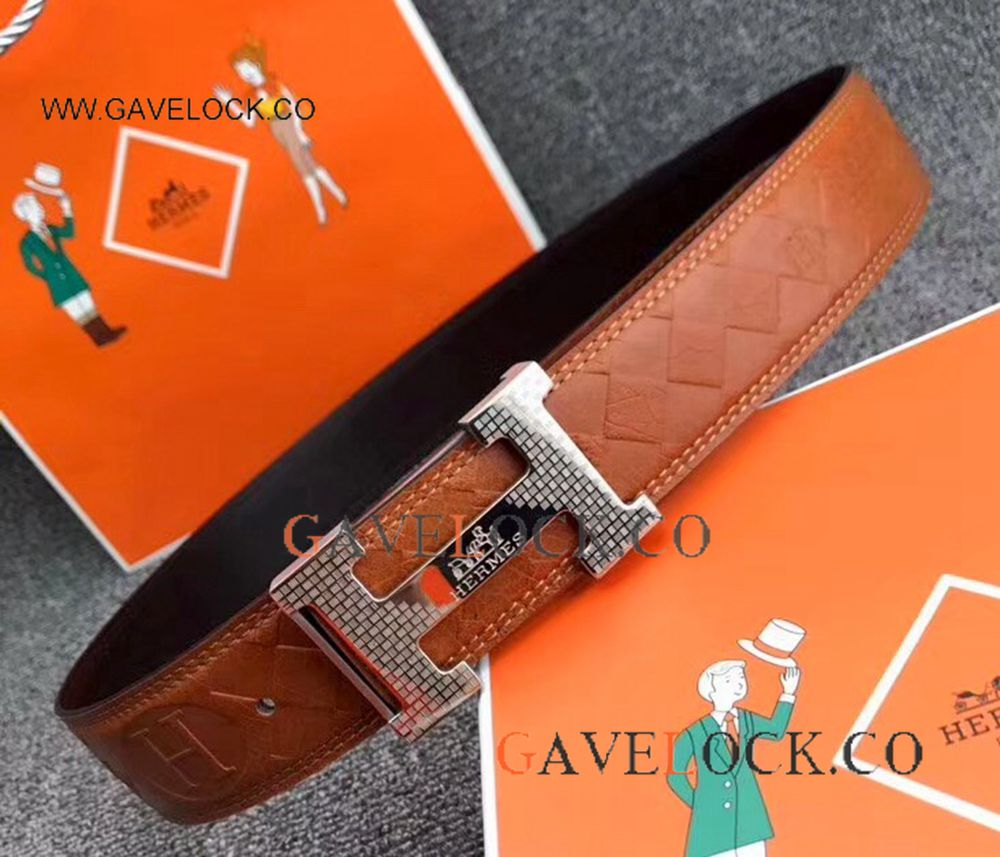 High-End Replica Hermes Belt Brown Leather With Silver H Buckle/ New Style