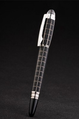 MontBlanc Silver Trimmed Square Cutwork Black Rollerball Pen With MB Engraved Cap