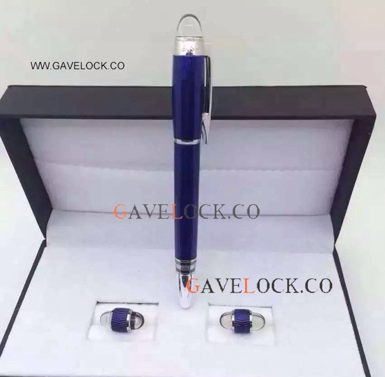 Montblanc Starwalker Blue Rollerball Pen And Cufflinks Set Replica