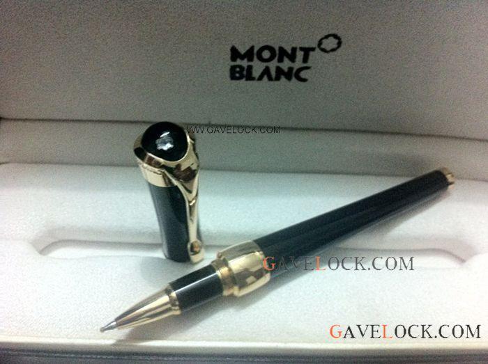 Montblanc Etoile De Black & Gold Replica Rollerball Pen