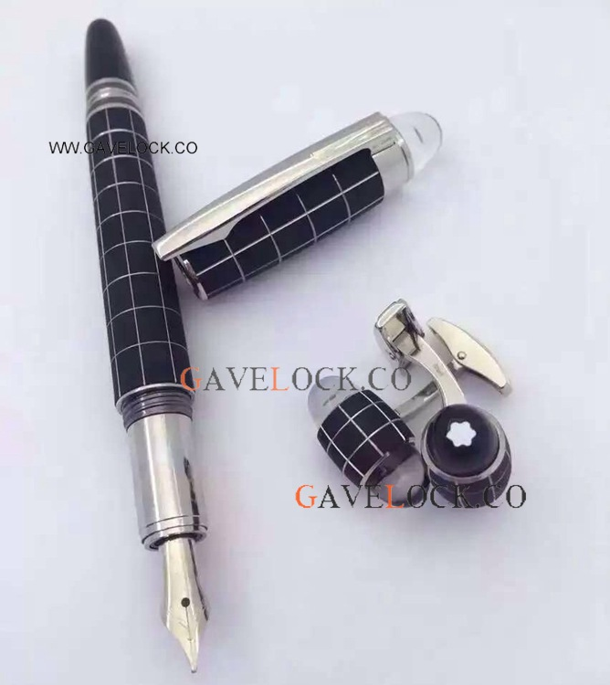 Fake Mont blanc Pen and Cufflink Set / Starwalker Fountain Pen