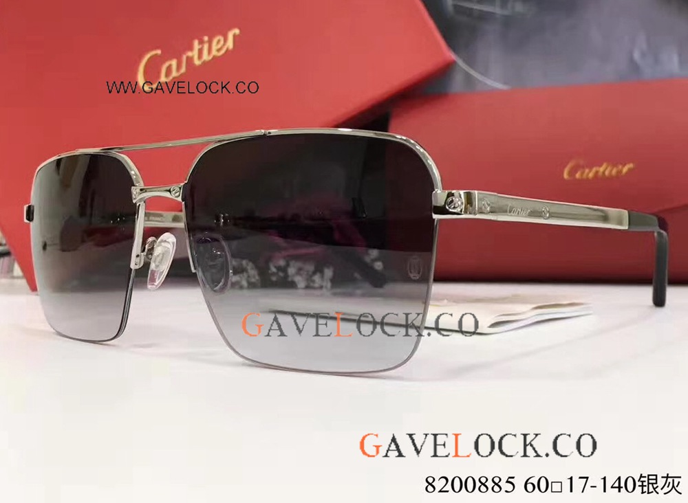 New Arrival Cartier Double-bar Sunglasses / Silver And Gray For Men Gifts