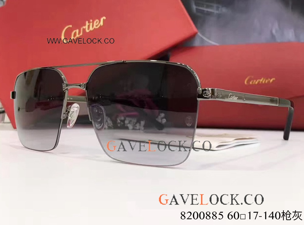 New Arrival Copy Cartier Sunglasses / Gray Double-bar Sunglasses