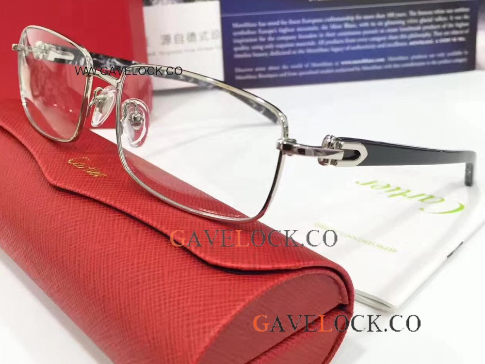 New Arrival Fashionable Cartier Fake Eyeglasses / Silver And Black