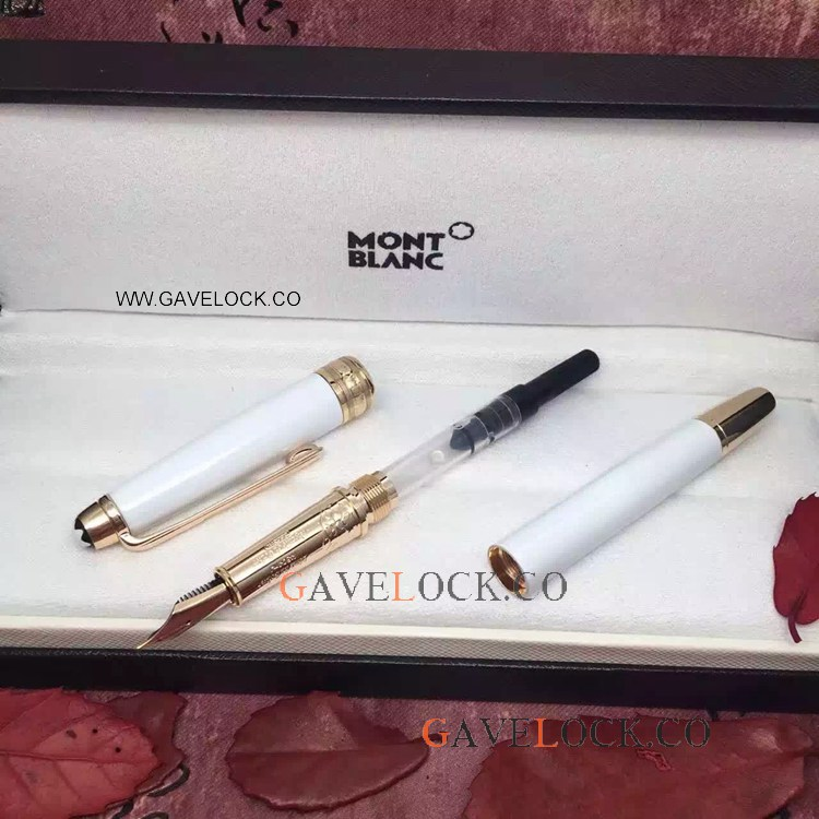 New Copy Mont Blanc Meisterstuck White & Gold Fountain Pen Wholesale Montblanc Knockoff Pen