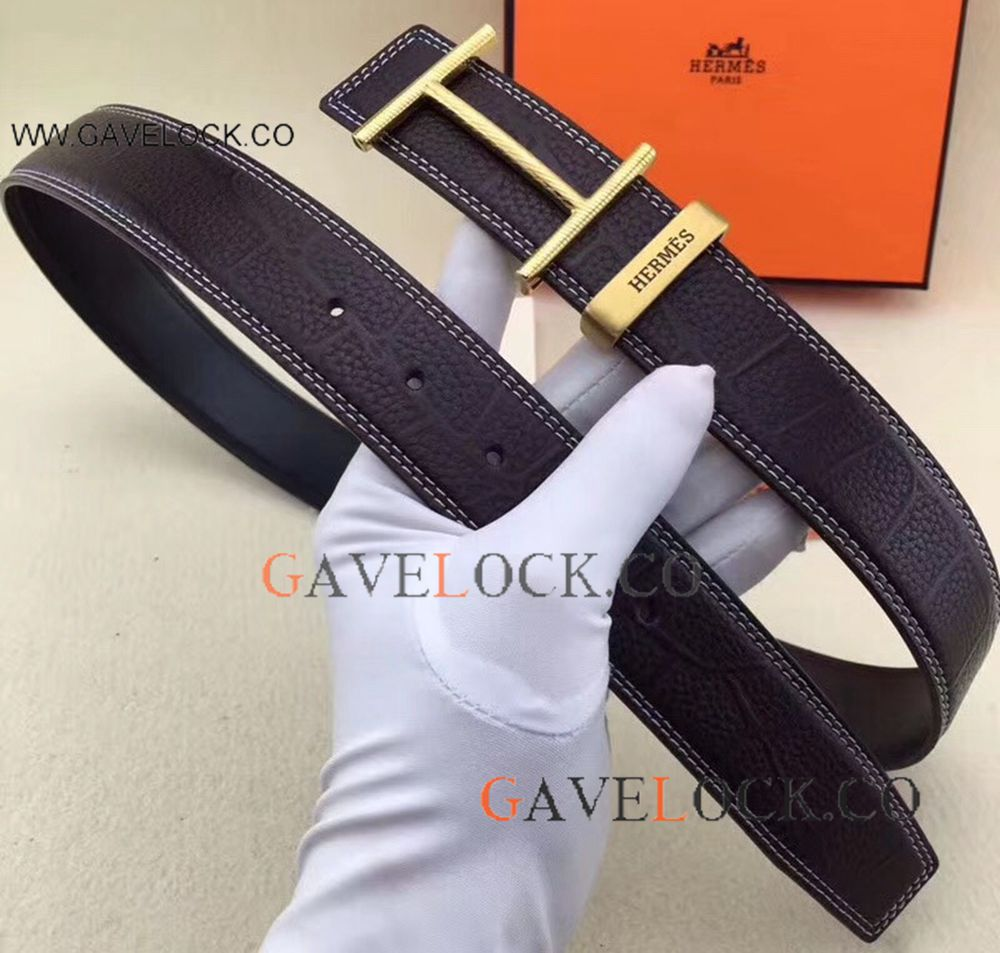 New Design Hermes Belt Men's Casual - Brown With Gold H New Buckle
