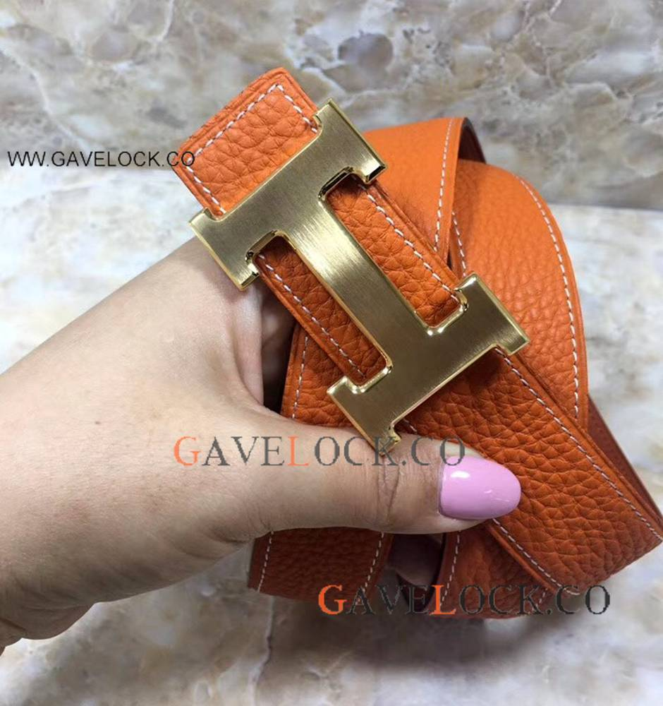 New Design Hermes Double Sided Belt - Orange Belt With Gold Buckle Replica