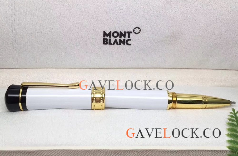 New Replica Montblanc Bonheur Pen Wholesale - White And Gold Rollerball