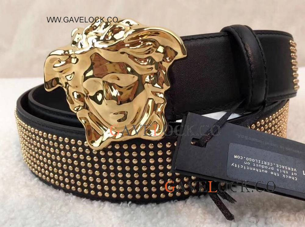 Newest Replica Versae Studded Cool Black Leather Belt With Gold Buckle